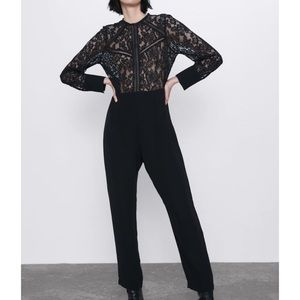 Zara Combination Jumpsuit With Guipure Lace
